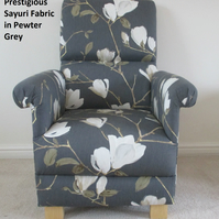 Prestigious Sayuri Pewter Grey Fabric Adult Chair Cream Floral Accent Armchair