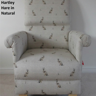 Fryetts Hartley Hare Natural Fabric Adult Chair Rabbits Animals Nursery Beige