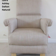 Laura Ashley Dalton Natural Fabric Adult Chair Beige Plain Armchair Kitchen New