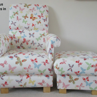 Prestigious Butterflies Fabric Adult Chair Armchair & Footstool Nursery Pink