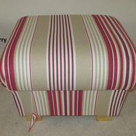 Laura Ashley Irving Stripe Fabric Footstool Cranberry Red Pouffe Footstall Cream