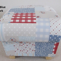 Fryetts Vintage Patchwork Blue Footstool Footstall Gingham Shabby Chic Floral