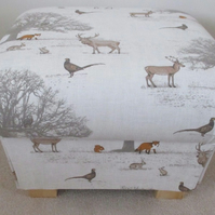 Fryetts Tatton Animals Fabric Footstool Foxes Beige Deer Woodland Handcrafted