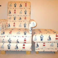 Fryetts Maritime Boats Fabric Adult Chair & Footstool Nautical Blue Ship Sailing