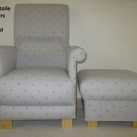Clarke Grey Etoile Stars Fabric Adult Chair & Footstool Nursery Bedroom Kitchen