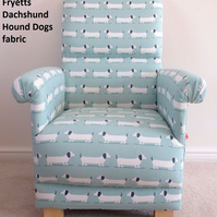Fryetts Dachshund Hound Dogs Fabric Adult Chair Duck Egg Puppy Nursery Green