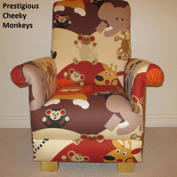 Prestigious Cheeky Monkeys Fabric Child's Chair Animals Kid's Armchair Elephants
