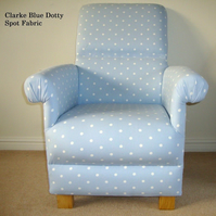 Clarke Powder Blue Dotty Spot Fabric Adult Armchair Polka Dot Chair Nursery