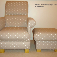 Clarke Dotty Taupe Spot Fabric Chair & Footstool Beige Polka Dot Armchair New
