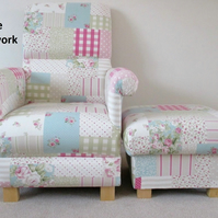 Fryetts Vintage Patchwork Pink Fabric Chair & Footstool Armchair Shabby Chic