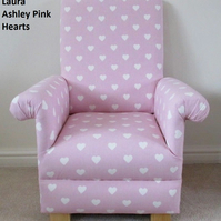 Laura Ashley Pink Hearts Fabric Child's Chair Girl's Armchair Babies Toddlers