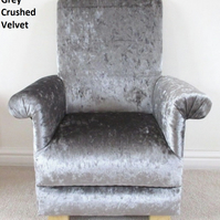 Silver Grey Crushed Velvet Child's Chair Kid's Armchair Toddler Baby High Back