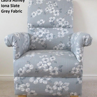 Laura Ashley Iona Fabric Slate Grey Armchair Floral Chair Bedroom Accent Lounge