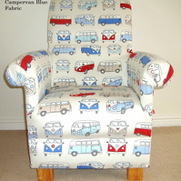 Fryetts Campervan Blue Fabric Adult Chair VW Vans Armchair Nursery Bedroom Red