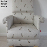Fryetts Hartley Hare Natural Fabric Chair Adult Armchair Beige Taupe Rabbits