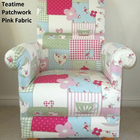 Fryetts Patchwork Teatime Pink Fabric Adult Chair Nursery Armchair Kitchen Spots