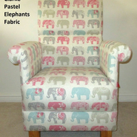 Clarke Pastel Elephants Fabric Adult Chair Armchair Patchwork Pink Bedroom Grey