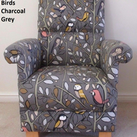 Tweety Birds Fabric Adult Chair Charcoal Grey Armchair British Birds Nursery