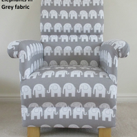 Grey Elephants Fabric Adult Chair Nursery Armchair Retro Vintage Style Bedroom