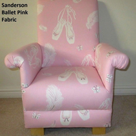 Child's Chair in Sanderson Pink Ballet Fabric Kid's Armchair Ballerina Dancer