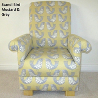Scandi Bird Fabric Child's Chair Armchair Grey Mustard Nursery Children Bedroom