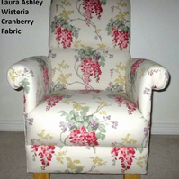 Laura Ashley Wisteria Cranberry Red Fabric Adult Chair Floral Conservatory