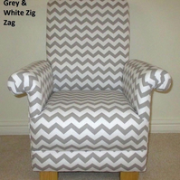 Zig Zag Grey White Fabric Child's Chair Children's Kid's Armchair Chevron
