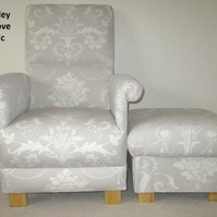 Laura Ashley Josette Fabric Adult Chair Dove Grey & Footstool French Armchair