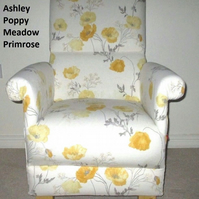 Laura Ashley Poppy Meadow Primrose Fabric Adult Chair Armchair Lemon Cream New