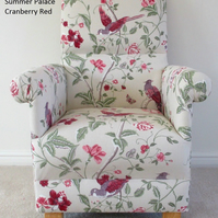 Laura Ashley Summer Palace Cranberry Fabric Adult Chair Armchair Red Birds New