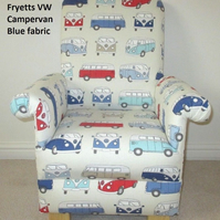 Kid's Chair Fryetts VW Campervan Blue Fabric Child's Armchair Vans Nursery Red