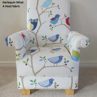 Harlequin What A Hoot Blue Fabric Kid's Chair Child's Armchair Owls Nursery