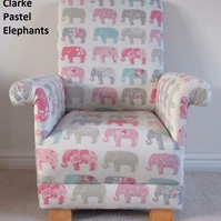 Kid's Chair in Pastel Elephants Fabric Pink Grey Patchwork Armchair Girls Blue
