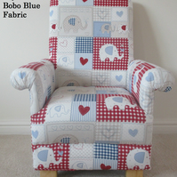 Fryetts Bobo Blue Fabric Child's Chair Kids Armchair Patchwork Elephants Red
