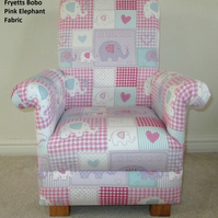 Fryetts Bobo Pink Fabric Child's Chair Girls Armchair Patchwork Elephants Hearts
