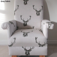 Kid's Stag Heads Fabric Armchair Grey Child's Chair Deer Childrens Animals Stags