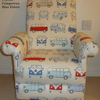 Child's Chair Fryetts Campervan Blue Fabric Kid's Armchair VW Vans Volkswagen