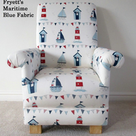 Child's Chair Fryetts Maritime Boats Fabric Blue Red Kid's Armchair Sailing Sea
