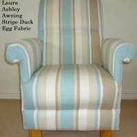 Laura Ashley Awning Stripe Fabric Adult Chair Duck Egg Conservatory Kitchen New