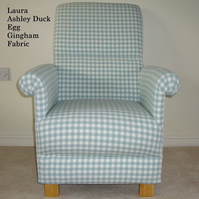 Laura Ashley Duck Egg Gingham Fabric Adult Chair Accent Armchair Occasional New