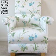 Laura Ashley Orchid Apple Green Floral Linen Fabric Adult Chair Accent Armchair