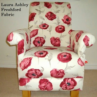 Laura Ashley Freshford Fabric Adult Chair Poppies Red Accent Living Room Bespoke