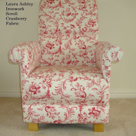 Laura Ashley Ironwork Scroll Fabric Adult Chair Cranberry Cream Red Lounge New