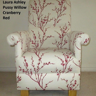Laura Ashley Pussy Willow Cranberry Fabric Adult Chair Kitchen Bedroom Lounge
