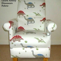 Laura Ashley Dinosaurs Fabric Adult Chair Blue Red White Nursery Boys Bedroom