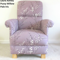 Laura Ashley Pussy Willow Pale Iris Fabric Adult Chair Purple Bedroom Lilac