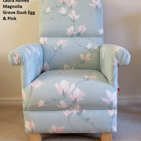 Laura Ashley Magnolia Grove Fabric Adult Chair Armchair Pink Flowers Bedroom