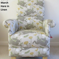 Clarke March Hare Fabric Adult Chair Armchair Mustard Linen Natural Nursery
