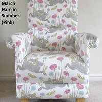 Clarke March Hare Summer Fabric Adult Chair Pink Armchair Beige Nursery