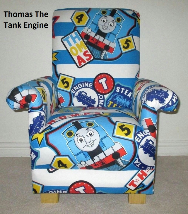 Thomas The Tank Engine Fabric Child's Chair Boy's Armchair Blue Kids Trains